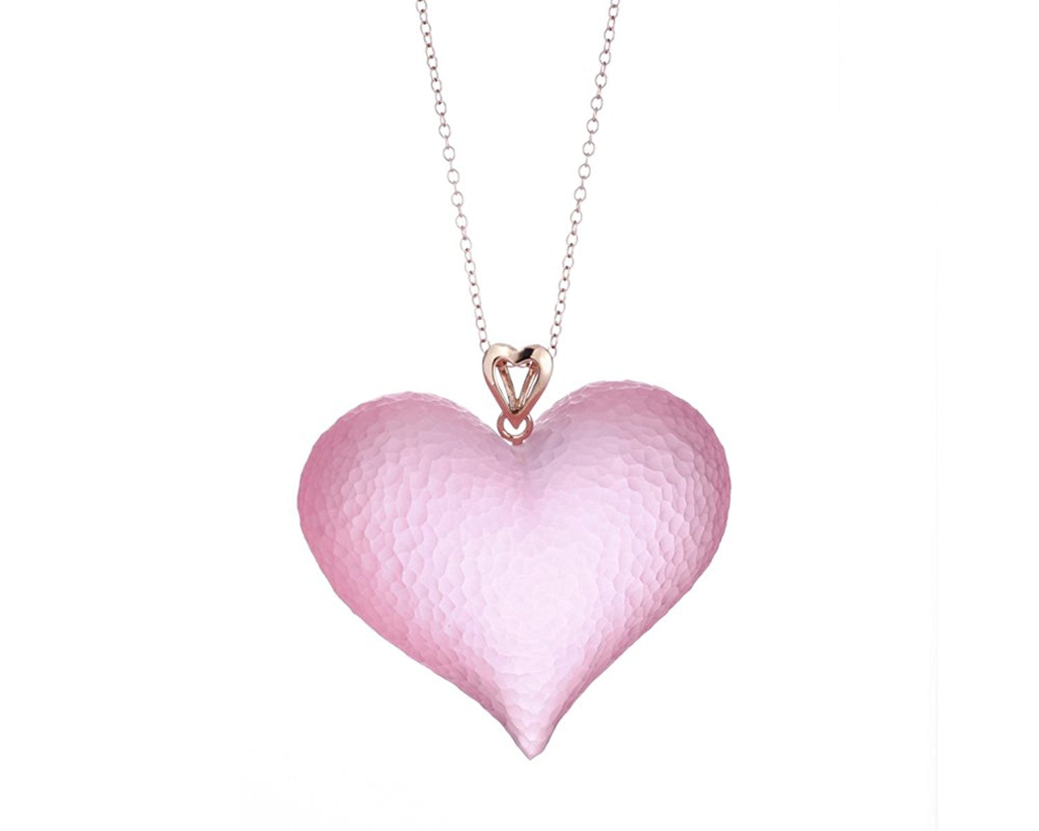 Pink Lucite Heart Pendant