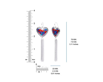Blue and Red Heart Tassel Earring Dimensions