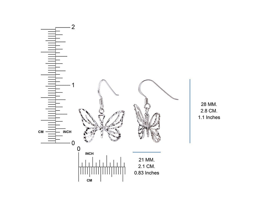 Sterling Silver Spring Butterfly Earrings Dimensions