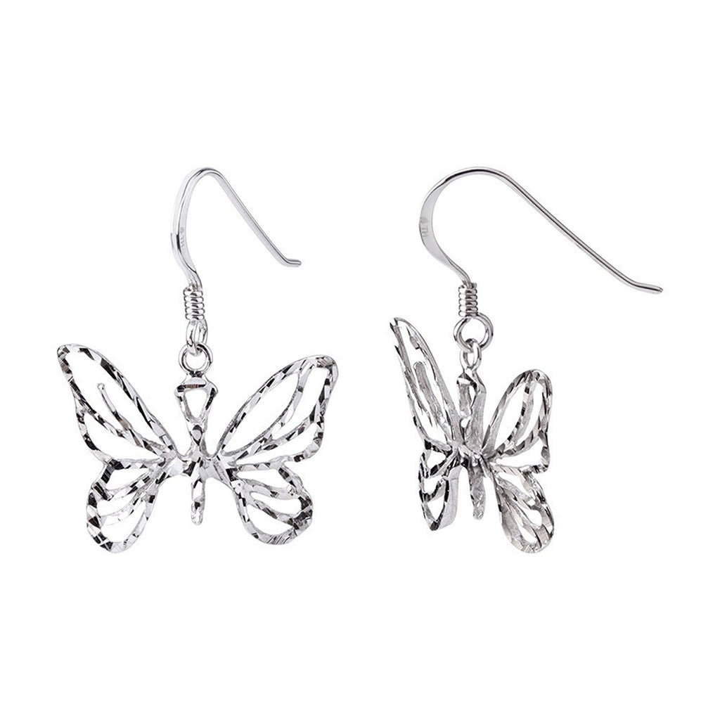 Sterling Silver Spring Butterfly Earrings