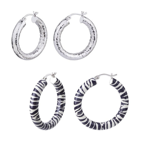 Zebra and Hammered Hoop Earring Set