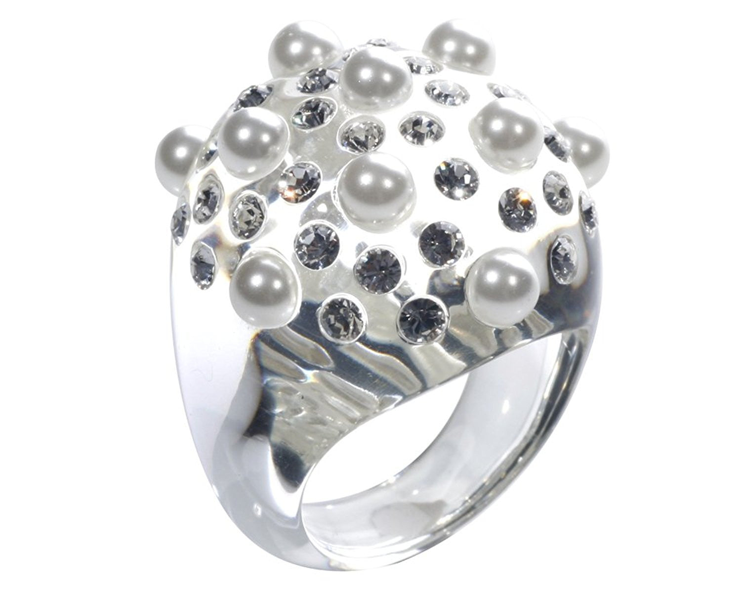 Clear Dome Ring With Pearls and Swarovski Crystals