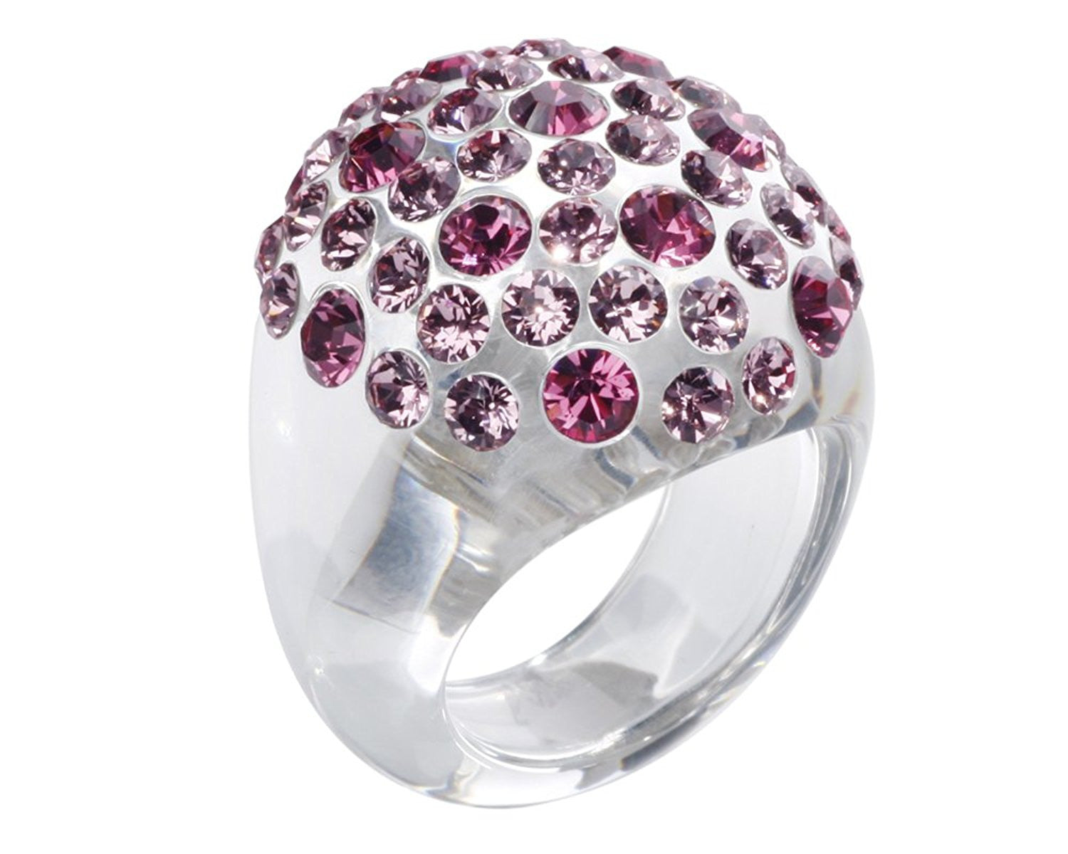 Clear Dome Ring With Pink Swarovski Crystals