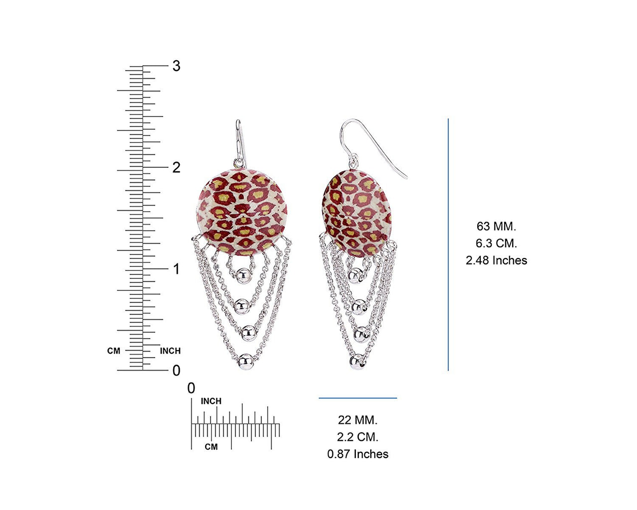 Leopard Drop Earring Dimensions