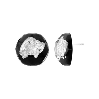FACETED STUDS - BLACK AND SILVER