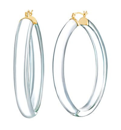 XL Oval Lucite Hoops CLEAR