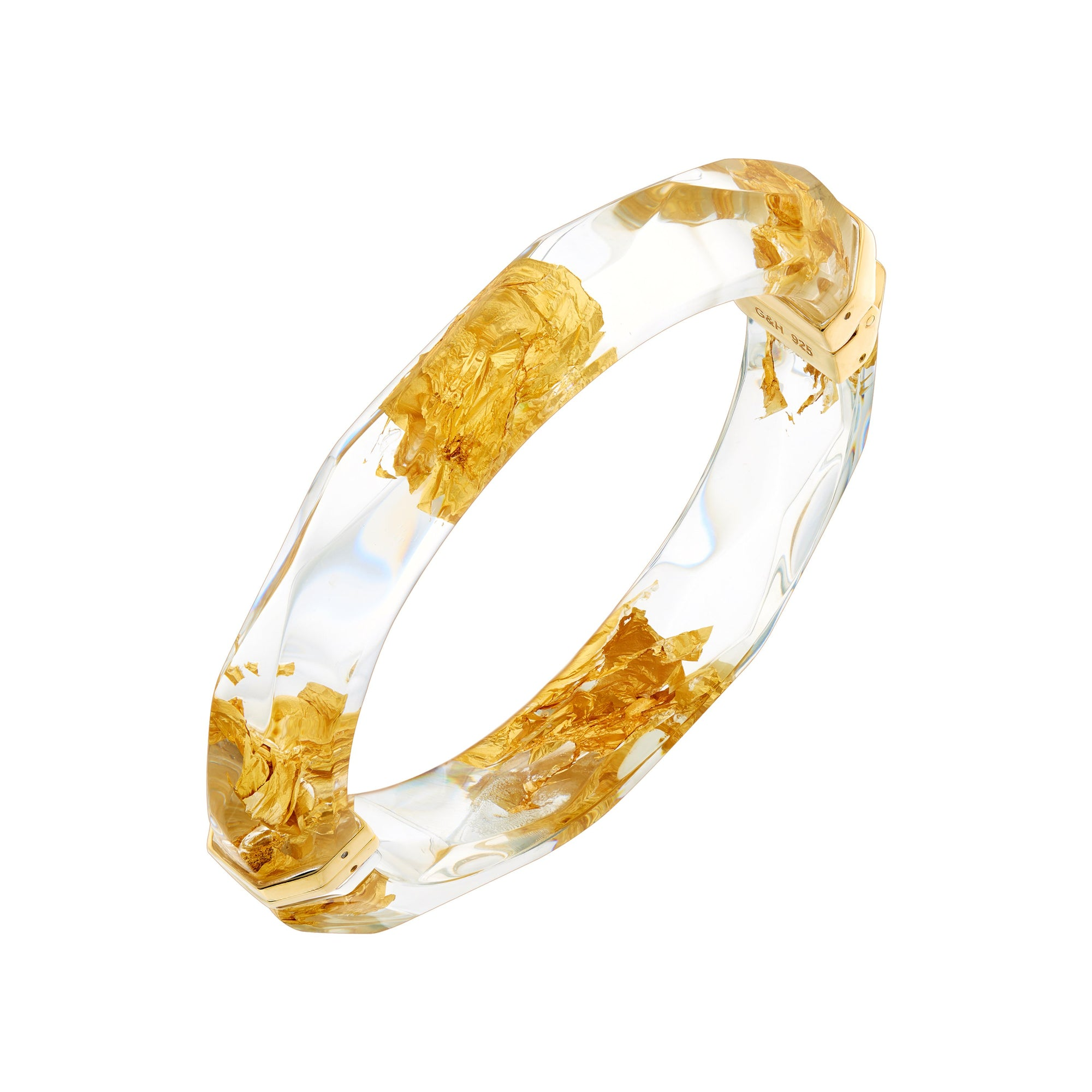24K Gold Leaf Thin Lucite Bangle in Clear