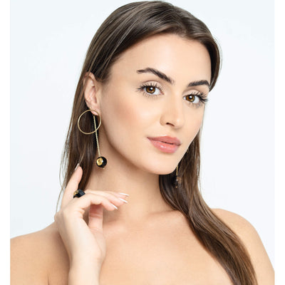 Circle Drop Earrings on Model