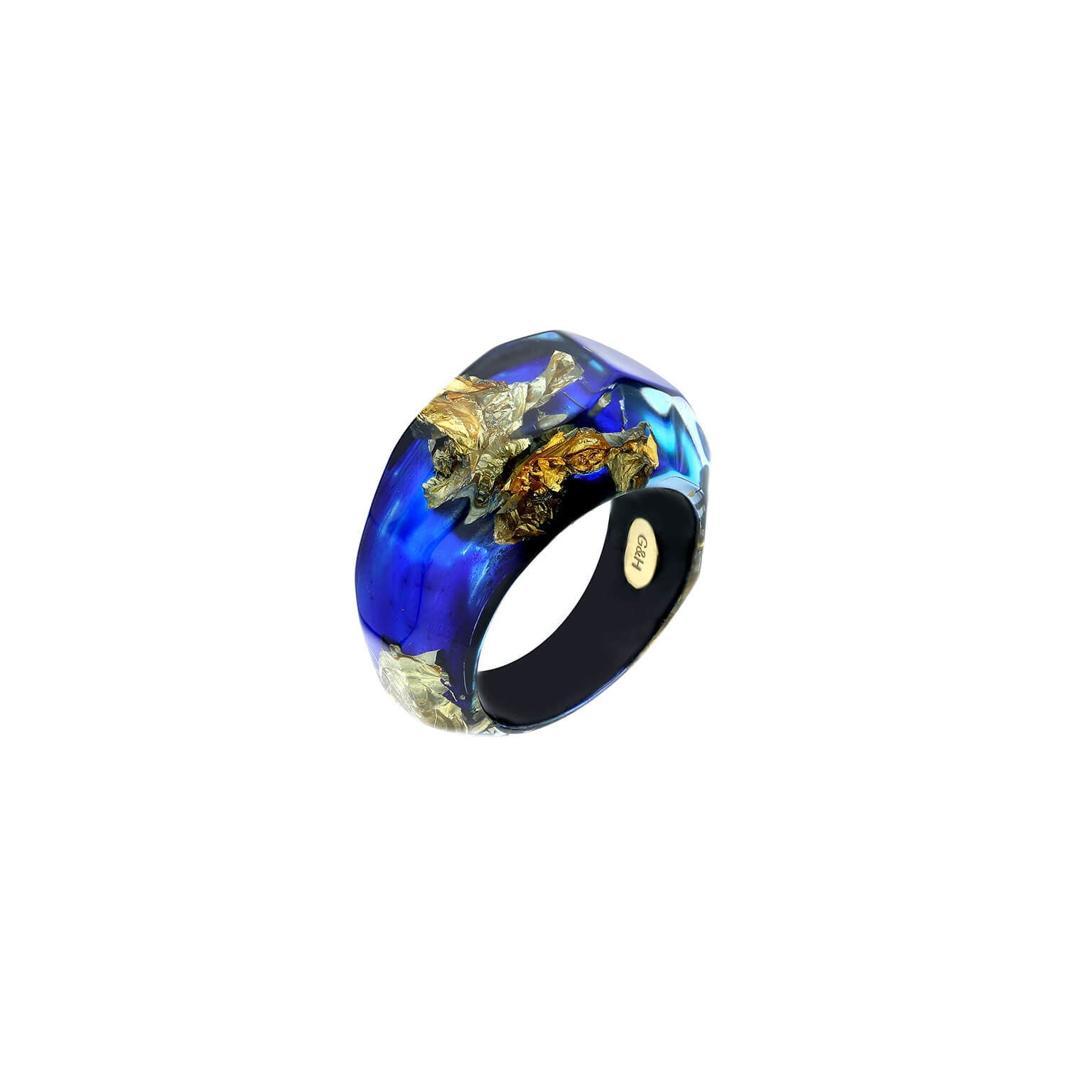 Deep Blue Lucite Ring with Gold Leaf