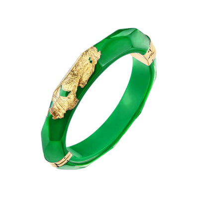 24K Gold Leaf Thin Faceted Lucite Bangle - DARK GREEN