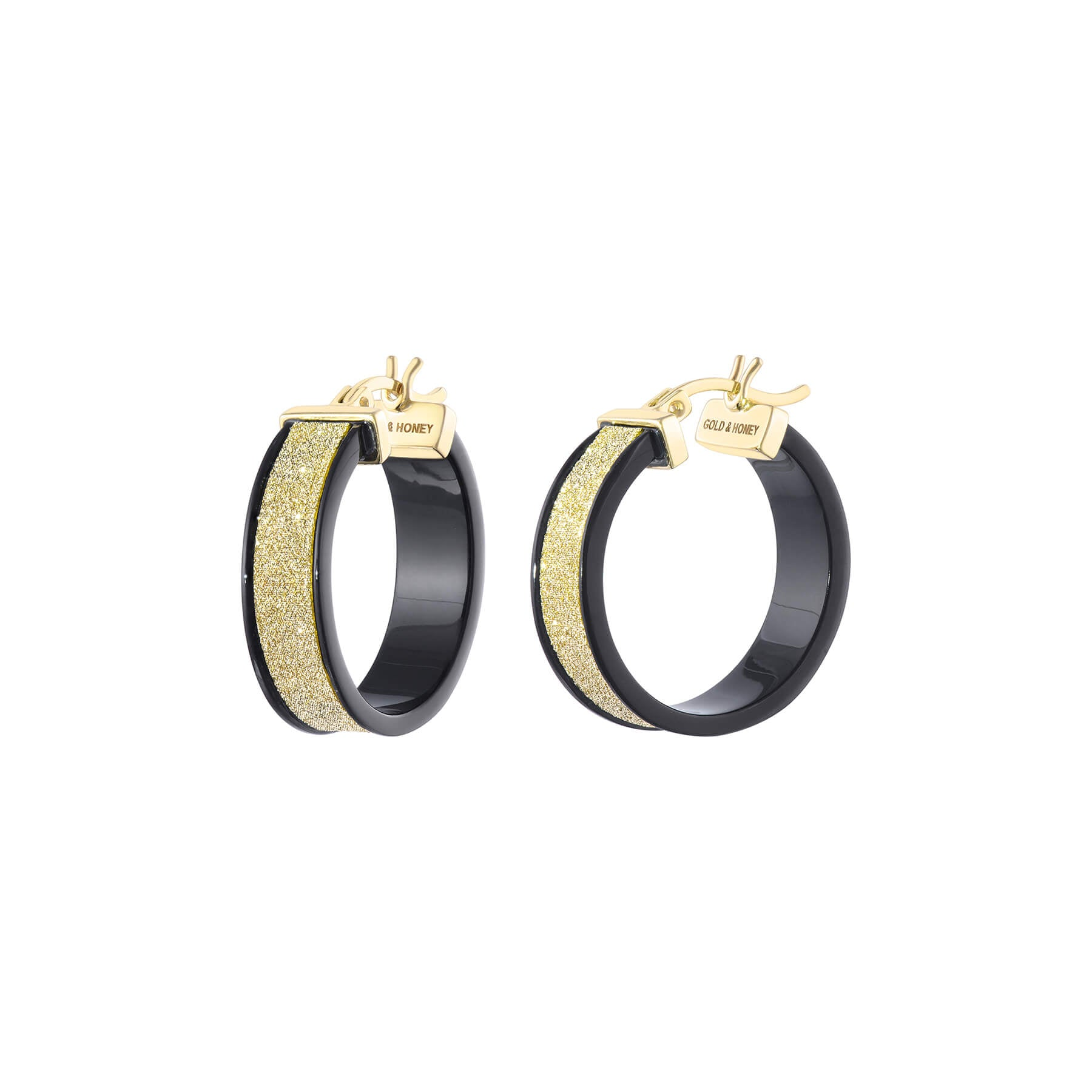 Wide Glitter Hoops - Black and Gold