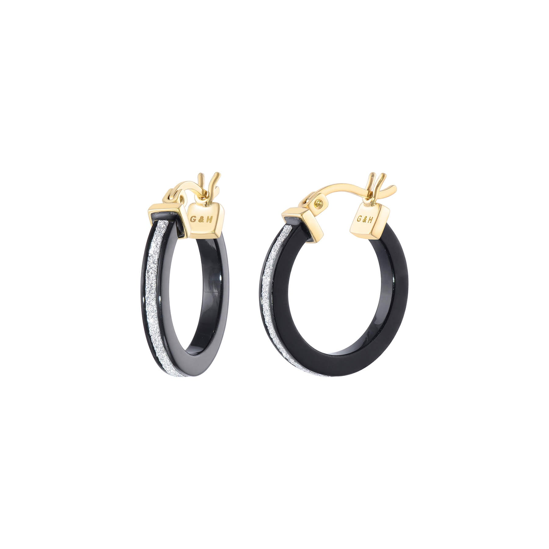 Thin Glitter Hoops - Black and Silver