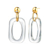 Clear Oversized Rectangle Lucite Earrings