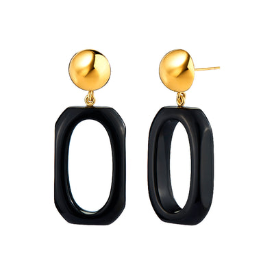 Rectangle Lucite Earrings BLACK