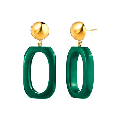 Rectangle Lucite Earrings GREEN