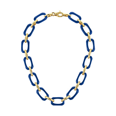 Rectangle Link Lucite Necklace BLUE