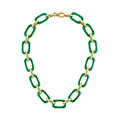 Rectangle Link Lucite Necklace GREEN
