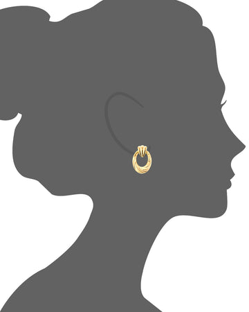 Scalloped Drop Earrings - Gold & Honey