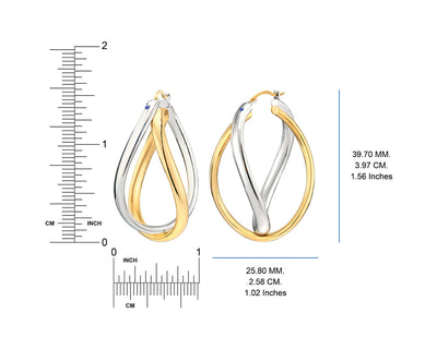 Two Tone Hoop Earrings - Gold & Honey - Ruler