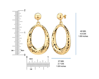 Hammered Drop Hoop Earrings - Gold & Honey - Ruler