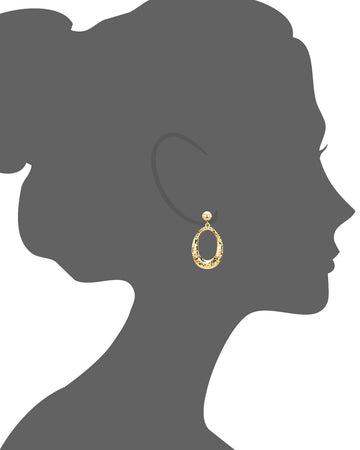 Hammered Drop Hoop Earrings - Gold & Honey