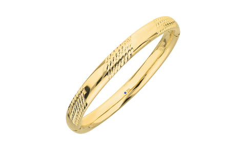 Hammered Station Bangle - Gold & Honey