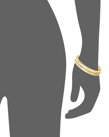 Diamond Cut Row Bangle - Gold & Honey
