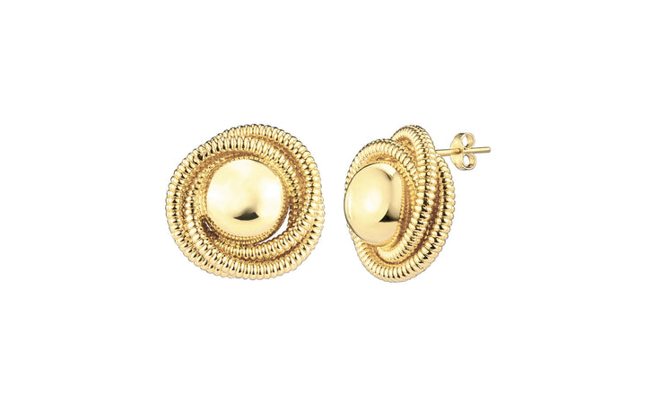 Love Knot Cable Stud Earrings - Gold & Honey