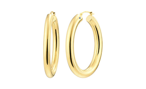 Classic Oval Hoop Earrings - Gold & Honey