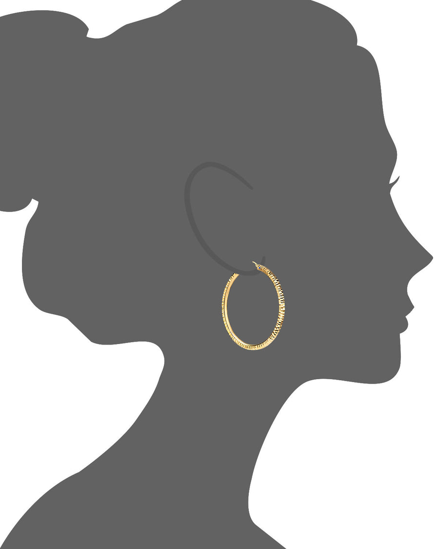 14K Hammered Cut Hoop Earrings