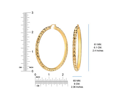Diamond Cut Hoop Earrings - Gold & Honey - Ruler