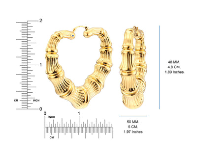 14K Bamboo Heart Earrings - Gold & Honey - Ruler