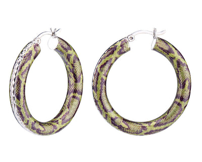 Animal Print Diamond Cut Hoops - GARDEN SNAKE