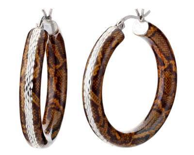 Animal Print Diamond Cut Hoops - PYTHON