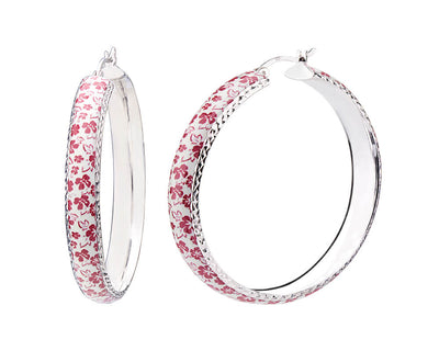 Floral Print Hoops - RED AND WHITE FLOWER