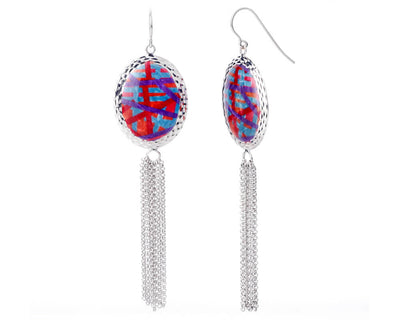 Oval Printed Tassel Earrings - RED