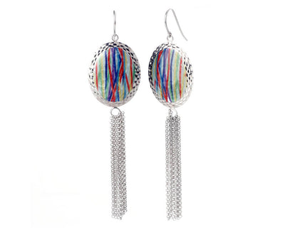 Oval Printed Tassel Earrings - TIE DYE