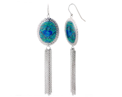 Oval Printed Tassel Earrings- GREEN AND BLUE