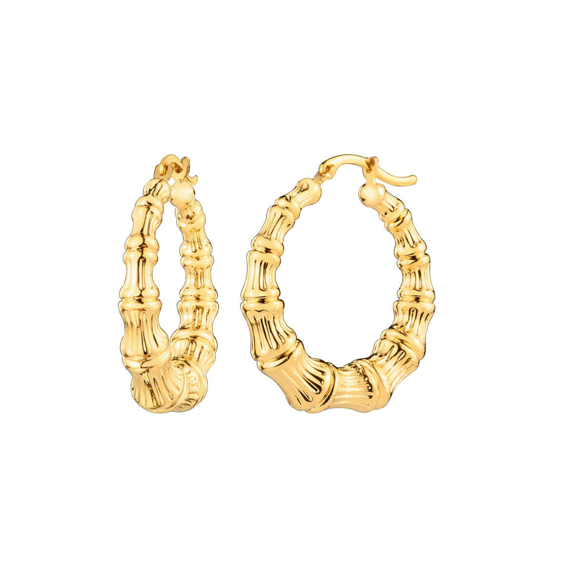 14K Gold Mini Bamboo Hoops