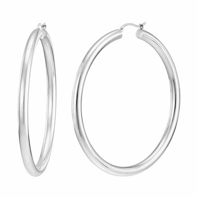 Extra Large Classic Hoop Earrings - SILVER