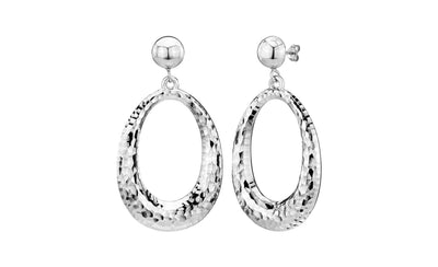 14K Hammered Drop Hoop Earrings SILVER
