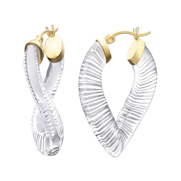 Crystal Clear Lucite 36mm Twisted Hoops