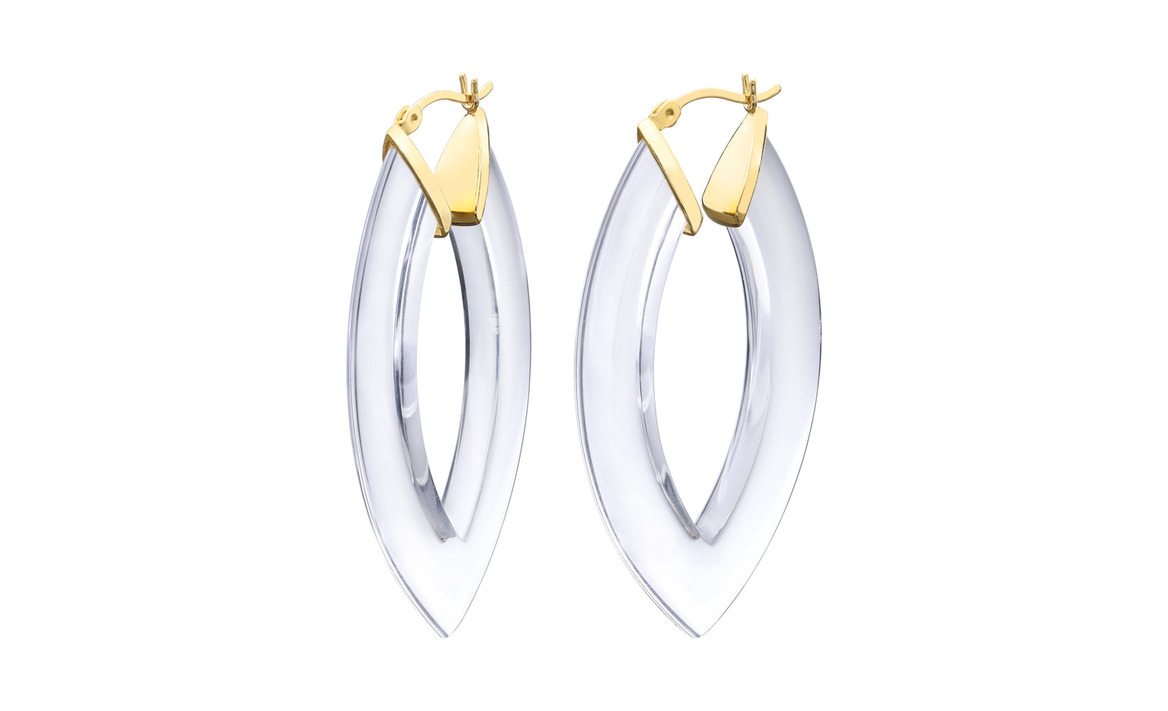 Crystal Clear Lucite 53mm Marquise Hoops