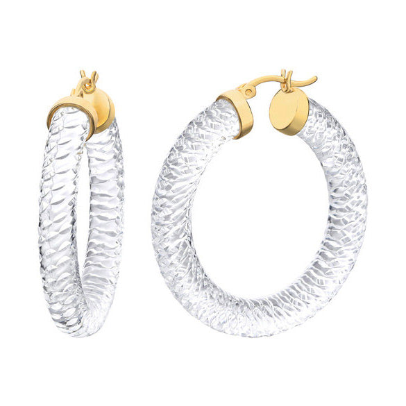 Textured Clear Lucite 36mm Cable Hoops