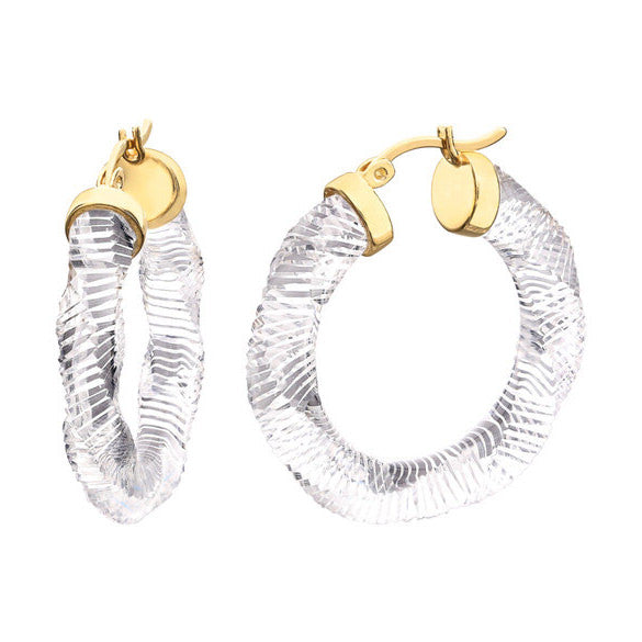 Textured Clear Lucite 31mm Twist Hoop