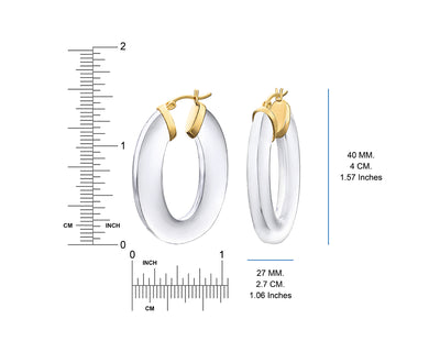 Clear Lucite Flat Oval Hoops DIMENSIONS