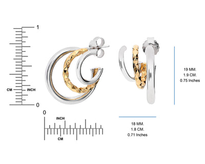 Two-Tone Triple Hoops DIMENSIONS