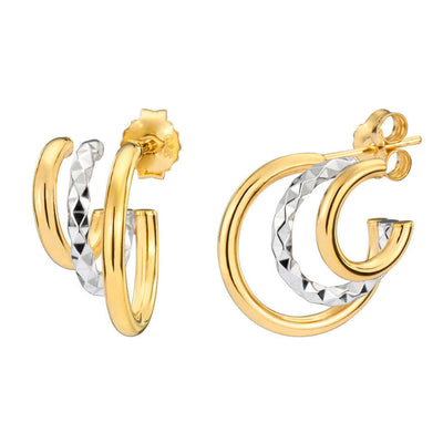 Two-Tone Triple Hoops - GOLD