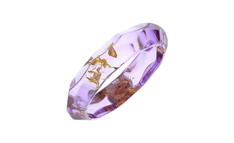 Purple and Gold Leaf Lucite Bangle