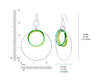 Double Green Lucite and Silver Hoop Drop Earrings DIMENSIONS